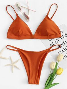 28cfee5451ddc Thin Strap Top With High Leg Bikini Set