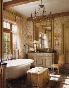 How To Create A French Bathroom - decoration,wood,wood working,furniture,decorating Romantic Bathrooms, Beautiful Bathrooms, Country Bathrooms, French Cottage, French Country House, French Decor, French Country Decorating, French Bathroom Decor, Bathroom Interior
