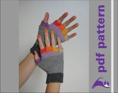 Pattern - knit fingerless gloves, half finger, 5 women sizes, pdf-pattern, digital