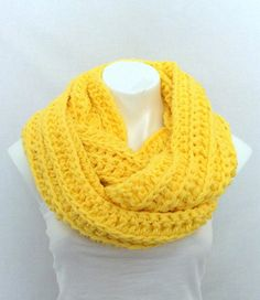 Yellow Infinity Scarf Chunky Crochet Scarf by AurellaBlue on Etsy, $36.00