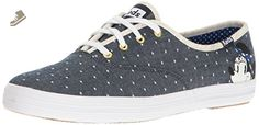 Keds Women's Champion Minnie Polka Dot/ Pique Chambray Fashion Sneaker, Blue, 7 M US - Keds sneakers for women (*Amazon Partner-Link)