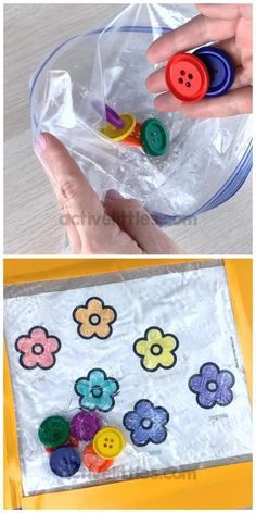 This easy squishy sensory bag is fun for babies, toddlers, preschoolers and for kids! Preschoolers can learn colors and matching with this fun and easy sensory bag using the free flower matching printable. Baby Sensory Play, Sensory Activities Toddlers, Preschool Learning Activities, Infant Activities, Preschool Activities, Baby Sensory Bags, Preschool Worksheets, Preschool Classroom, Learning Colors