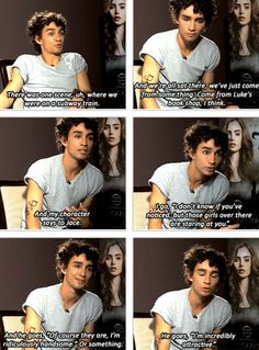Robert Sheehan interviewed and asked about what scene he remembers filming that didn't show up in The Mortal Instruments: City of Bones movie. I liked this scene in the book of Clary and Jace on the train or subway, whichever one. (Picture 1/2)