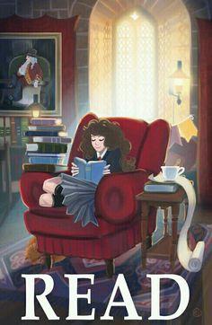 Hermione reads.