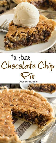 Toll House Chocolate Chip Pie Dessert Recipe via A Family Feast - All of the classic flavors of Toll House Chocolate Chip Cookies in a warm, dense, fudgy cookie pie! - Favorite EASY Pies Recipes - Brunch Dessert No-Bake + Bake Musts Dessert Dips, Smores Dessert, Dessert Aux Fruits, Pie Dessert, Dessert Tables, Appetizer Dessert, Dinner Dessert, Breakfast Dessert, Thanksgiving Desserts Easy