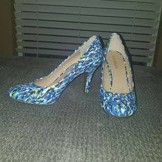Kelly & Kate heels Colorful never been worn heels about 2.5 inches high. Comfy. They can make a simple plan outfit sazzy! Kelly & Katie Shoes Heels