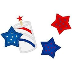 Firecracker Stars Applique - 3 Sizes!   4th of July   Machine Embroidery Designs   SWAKembroidery.com Band to Bow