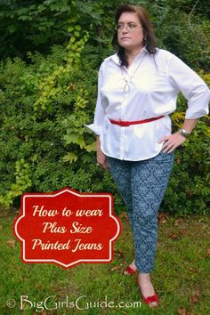 Great info! Plus Size Fashion: How to wear Plus Size Printed Jeans #plussize #fall #fashion Read this guide, then accessorize at the #FallFashionBazaar. www.facebook.com/fallfashionbazaar