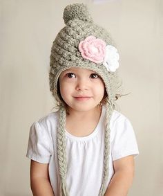 Loving this Gray & Pink Flower Snow Bunny Earflap Beanie  crochet inspiration