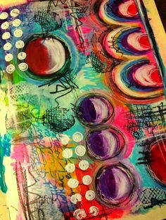 Journal Art -                                                              Tracy Scott for THE DYAN REAVELEY SOCIETY OF ART JOURNALING Gateway Group. ♡♡ the colors!!
