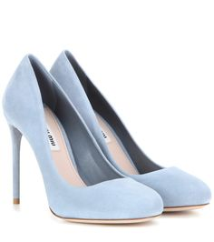 Miu Miu - Suede pumps - Miu Miu upgrades the classic pump this season in powder-blue suede. Crafted in Italy, this pair…