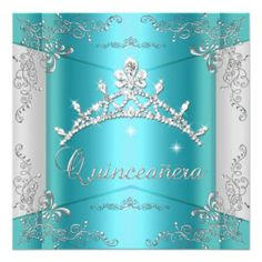 Quinceanera 15th Teal Blue Silver Tiara Custom Invite We have the best promotion for you and if you are interested in the related item or need more information reviews from the x customer who are own of them before please follow the link to see fully reviewsDeals Quinceanera...