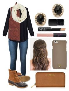 """I just want bean boot weather"" by emmacaseyyyy ❤ liked on Polyvore featuring Frame Denim, L.L.Bean, J.Crew, LA77, Michael Kors, Kate Spade, Tory Burch and NARS Cosmetics"