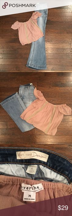 Flare Jeans & Crop Top 6 Really cute flared jeans from Cato's. Size 6. Very stretchy. The top is somewhat cropped. From a boutique. Size M. You get both items! Cato Jeans Flare & Wide Leg