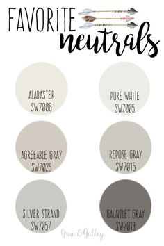 Above are just a few of my most used and favorite neutral colors from Sherwin-Williams. I love putting neutral colors on the walls in a room because it allows for color freedom in textiles, accessories and furniture. I am obsessed right now with bright, l Neutral Paint Colors, Paint Color Schemes, Exterior Paint Colors, Paint Colors For Home, Best Bathroom Paint Colors, Basement Paint Colors, Neutral Walls, Gray Walls, Neutral Tones