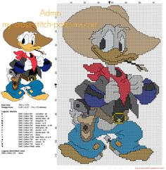 Donald Duck Disney cow-boy grille point de croix gratuit