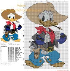 Disney Donald Duck cowboy free cross stitch pattern with back stitch
