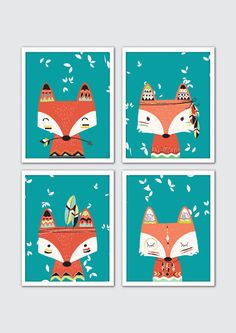 Fox vivero arte Tribal vivero arte decoración por RomeCreations