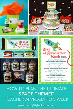 Everything you need to plan a SPACE themed teacher and staff appreciation week that is Out of This World: step-by-step instructions, decorations, printables, and gift card freebie!