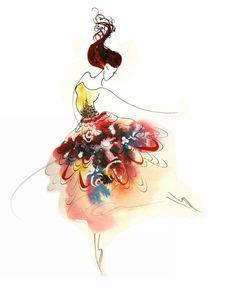 Tiny Dancer - Art Print watercolor painting ballerina woman dancing girl ballet tutu fashion sketch bedroom decor gift ideas Oladesign 8x10 via Etsy