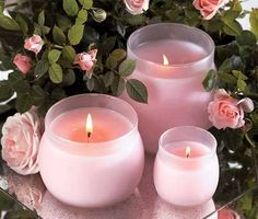 Pink candles and Roses