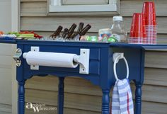 Sewing Table Idea: Turn it into a Bevarage Station DIY ~ Upcycled Repurposed Sewing Table To Drink Station ~ Ambient WaresDIY ~ Upcycled Repurposed Sewing Table To Drink Station ~ Ambient Wares Old Sewing Machine Table, Old Sewing Tables, Diy Sewing Table, Old Sewing Machines, Diy Table, Repurposed Furniture, Painted Furniture, Refurbished Furniture, Repurposed Items