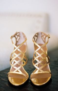 Gold Bridal Shoes by Tory Burch