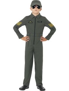 An authentic looking aviator or fighter pilot costume for boys and girls. This great looking costume includes airman's jumpsuit and hat. Get the Top Gun look with this super costume from PartytimeDirect Boys Fancy Dress, Army Costume, Costume Shop, Childrens Fancy Dress, Fighter Pilot, Boy Costumes, Costume Ideas, Armada, Children Costumes