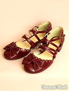 Innocent World Heart Cross Strap Sandals red/black/white see i told you Lolita Shoes, Lolita Dress, Gothic Lolita, Lolita Style, Wine Shoes, Kawaii Shoes, Current Fashion Trends, Ballerina Flats, Japanese Fashion