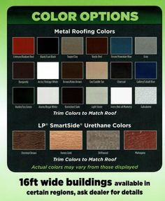 colors for your Premier Portable building