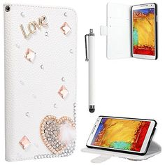 Note 3 Case, Galaxy Note 3 Flip Case - ULAK PU Leather Luxury Bling 3D Cross Rhinestone Lady Wallet Case Cover for Samsung Galaxy Note 3 Note III N9000 with Screen Protector and Stylus (Love/White) ULAK http://www.amazon.com/dp/B00NIQZ81E/ref=cm_sw_r_pi_dp_.GGkub1ENTWP5