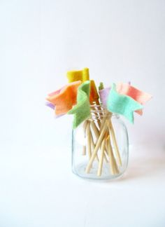 felt flags cupcake toppers