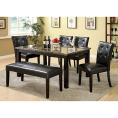 Furniture Of America Benning Heights 6 Piece Faux Marble Dining Set With  Bench   Home