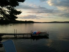 View off the dock at the cottage/ the fishing boat I share with my cousins.