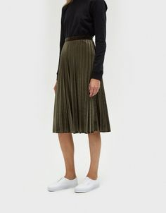 Pleated Velvet Skirt in Olive