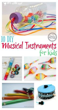10 DIY Musical Instruments for Kids. // Instrumentos musicales para niños 10 Awesome DIY Musical Instruments for kids and toddlers. Kids can make these right at home and enjoy creating music with them. Kids Crafts, Preschool Crafts, Projects For Kids, Diy For Kids, Easy Crafts, Art Projects, Arts And Crafts For Kids Easy, Preschool Classroom, Preschool Learning
