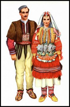 Macedonia Ethnic Dress Print Man and Woman in by SkippiDiddlePaper