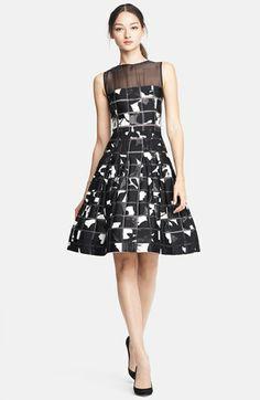 Oscar de la Renta Geometric Lily Fil Coupe Dress