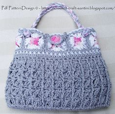 Grey Granny Square Bag By Ingunn Santini - Purchased Crochet Pattern - (ravelry)