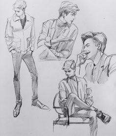 Thomas Sangster sketches Artist: unknown