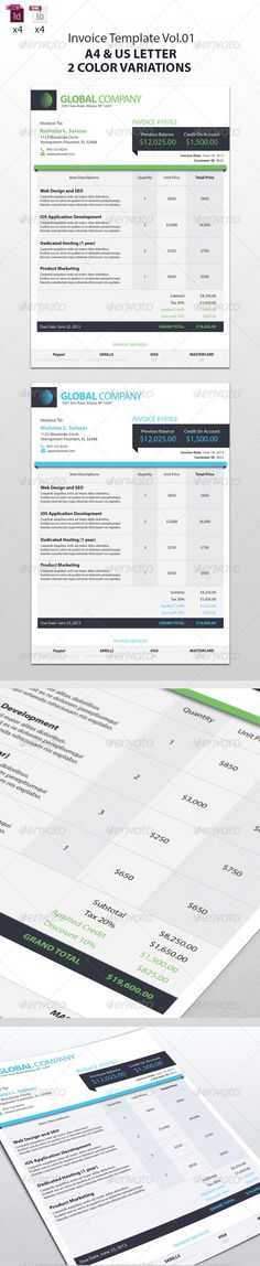 Generic Invoice Template | Corporate Design, Fonts And Letterhead