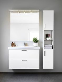 Badrumsinspiration - badrumskommod Smartie 90 med högskåp och lådor | Ballingslöv