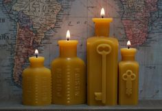 Beeswax Candle Collection  antique bottleshaped  by pollenArts, $45.00
