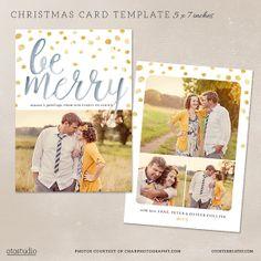 Digital Photoshop Christmas Card Template For Photographers Psd