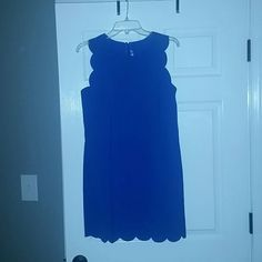 J.Crew scallop blue dress Women's blue scallop edge dress Size 8 Fall 2014 Brand new with tags Perfect for spring or summer! J. Crew Dresses