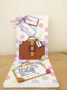 Fun pop-up Suitcase birthday card using Sizzix Pop 'n Cuts and Bigz Suitcase dies. Old Red Shed: Suitcases full of birthday hugs card...
