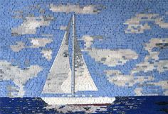 A marble mosaic fully handmade from natural stones and hand cut tiles. Illustrating a a sailing boat in the blue sea and calm sky.Create a beautiful natural stone Wallpaper, to Make it Last for Years and Never Fade or Discolor. Pick one of our optional frames for a custom mosaic wall artwork ready to beautify indoor and outdoor rooms. , Get it now for $328.
