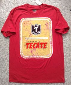NWT New$29 TECATE BEER/CERVEZA T-SHIRT Faded/Vtg-Look MENS MED Red/Yellow/Black #TecateGAP #GraphicTee