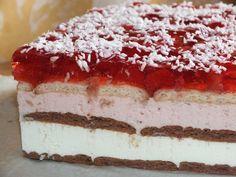 To bardzo prosty w przygotowaniu sernik z pysznymi masami: serową, śmietankowo-truskawkową i galaretkową z truskawkami :) Te słodkie i aromatyczne warstwy przekładane są kolorowymi herbatnikami. Przepis na warstwowy sernik na zimno z truskawkami. Apple Fritter Recipes, Apple Fritters, No Bake Cake, Tiramisu, Cake Decorating, Ethnic Recipes, Baking Cakes, Decorations, Drinks