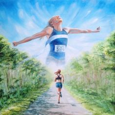 Keep The Goal In Mind - original painting of distance runner Running Drawing, Running Art, Girl Running, Run Like A Girl, Girls Be Like, Painting Of Girl, Figure Painting, Watercolor Painting, Kayaking With Dogs